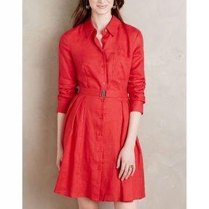 Anthropologie HD in Paris Laila Red Linen Dress